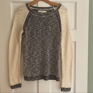 LOFT Black and Cream Sweater S